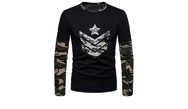 ... de Cuello Redondo Sudaderas del Camuflaje impresión Conjunta Blusa de otoño de los Hombres Top Blusa Suave Pullover: Amazon.es: Ropa y accesorios