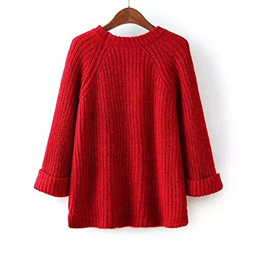 Jumper Tops Femmes et Rouge Lache Hiver Pulls Rond Sweater Shirts Chandail Haut Manches Shirts Tricots T Longues Mode Col Automne Casual Pullover f7TqwFd7