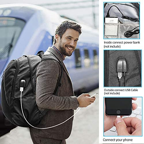 Tocode Unisex Laptop Backpack for School Travel, Fits 17 Computer Durable Casual Anti Theft Backpack Travel Bag, with USB Charging Port and Headphone Jack, Waterproof Large Compartment Daypacks