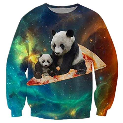 RAISEVERN Womens Pizza Panda Printed Graphic Novelty Pullover Sweater Sweatshirt Clothing