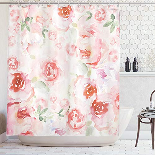 - Ambesonne Watercolor Flower Decor Collection, Soft Colored Pale Faded Mix of Roses Vintage Style Romantic Dream Painting , Polyester Fabric Bathroom Shower Curtain, 84 Inches Extra Long, Pink Green