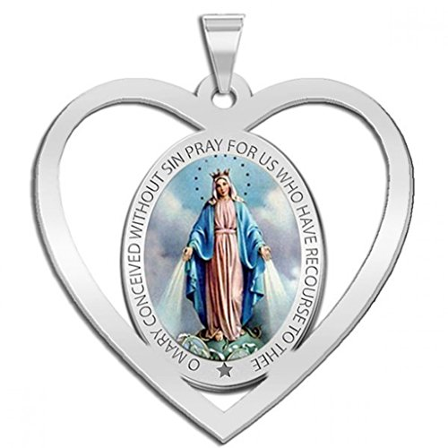 Miraculous Medal Heart Shaped Color Cut-out - 2/3 Inch X 2/3 Inch - Solid 14K White - Out White Gold Cut