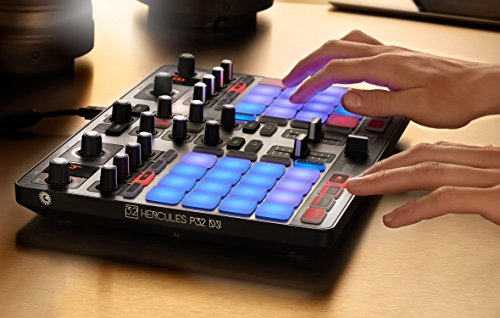 Hercules P32 DJ: the unique two-deck USB controller with a built-in audio interface and 32 pads, for easy creative mixing and remixing