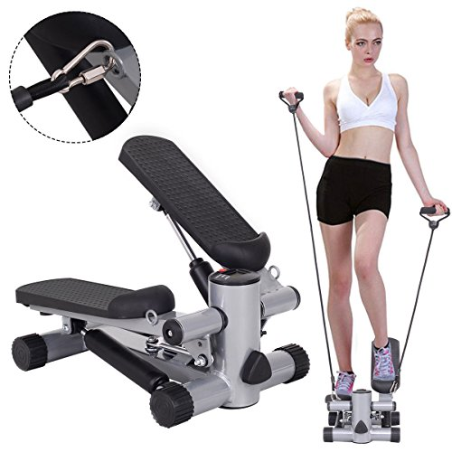Goplus Aerobic Fitness Step Air Climber Stepper Twist Exercise Machine w/ Resistance Band