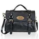 Leather Satchel Shoulder Daily Handbag Medium (black)
