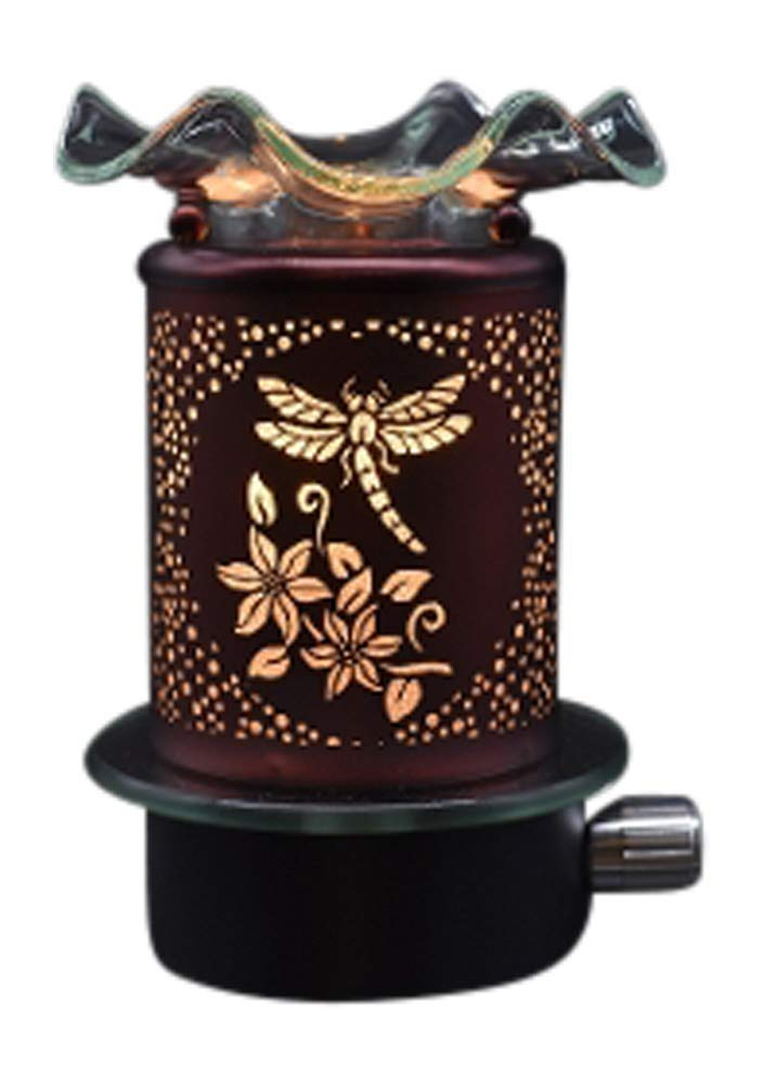 Electric Metal Plug in Night Light Wax Burner Oil Warmer Dragonfly Design