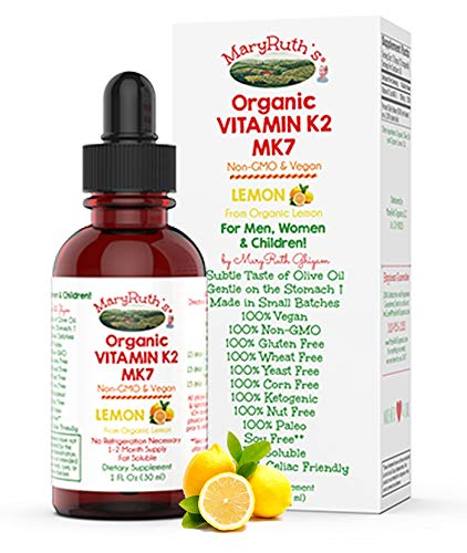 Organic Vitamin K2 (MK-7) Lemon Liquid Drops by MaryRuth's Non-GMO Vegan Gluten Free Paleo, Ketogenic, Bariatric Friendly and Celiac Friendly. Lemon Flavor for Men, Women & Children 1oz Glass Bottle