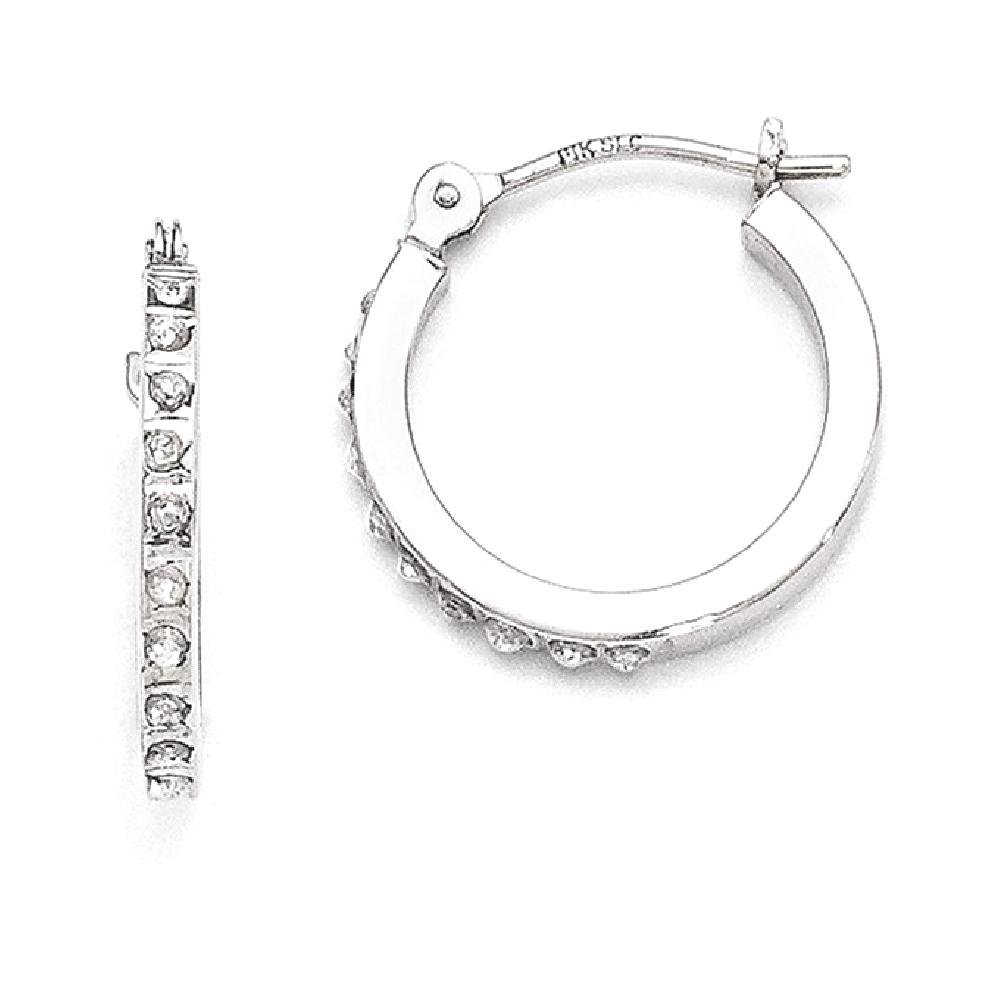 ICE CARATS 14k White Gold Diamond Fascination Hinged Hoop Earrings Ear Hoops Set Fine Jewelry Gift Set For Women Heart by ICE CARATS (Image #1)
