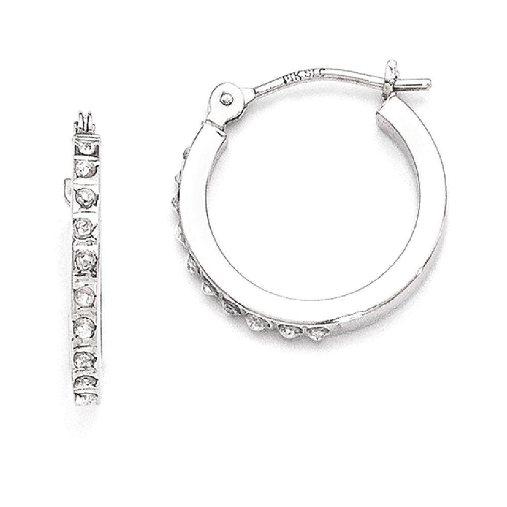 ICE CARATS 14k White Gold Diamond Fascination Hinged Hoop Earrings Ear Hoops Set Fine Jewelry Gift Set For Women Heart