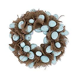 10 Inch Blue Egg and Burlap Wreath