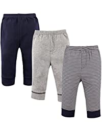'Luvable Friends Baby Boys 3 Pack Tapered Ankle Pants, Navy Stripes, 12-18 Months'