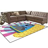 70s Party,Floor Mat,Retro Boom Box in Pop Art Manner Dance Music Colorful Composition Artwork Print,Anti-Skid Area Rug,Multicolor,5'x6'