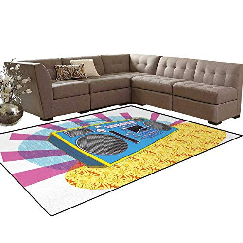 70s Party,Floor Mat,Retro Boom Box in Pop Art Manner Dance Music Colorful Composition Artwork Print,Anti-Skid Area Rug,Multicolor,5'x6' by smallbeefly