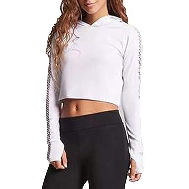 Logobeing Sudaderas Cortas Mujer Camisetas de Yoga para ...