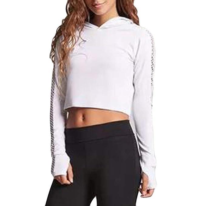 Logobeing Sudaderas Cortas Mujer Camisetas de Yoga para Mujer Blusas de Manga Larga para Mujer Ahuecar Tops: Amazon.es: Ropa y accesorios