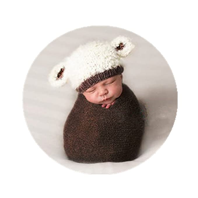 Amazon.com  Newborn Baby Boys Girls Photography Props Outfits Lamb Hat  Style with Long Ripple Wrap Stretch Swaddle Set Coffee  Clothing cb324e821af