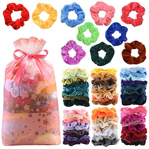 Cheap Girl Stuff (60Pcs Premium Velvet Hair Scrunchies Hair Bands for Women or Girls Hair Accessories with Gift Bag ,Great Gift for Thanksgiving day and)