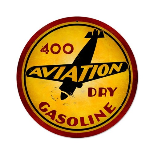 Aviation Gasoline Vintage Metal Sign Airplane Fuel 14 X 14 Steel Not Tin Gasoline Tin