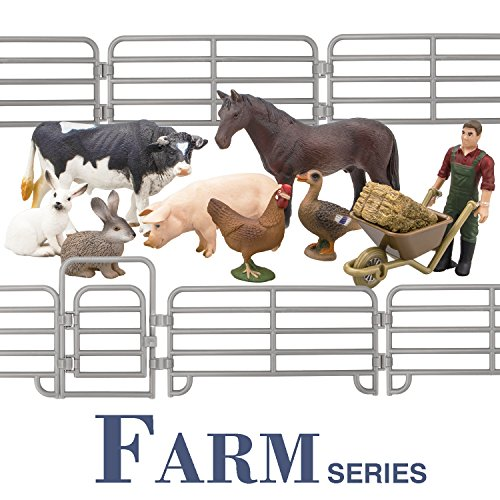 TOYMANY Solid Realistic 14PCS Farm Animal Figures Set with Fence, Farm Animals Playset Includes Farmer Horse Cow Pig Hen Duck Rabbits, Birthday Christmas Toy Gift for Kids Toddlers Children