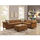 3PC Modern Camel Breathable Leatherette Sectional Sofa Set with Accent Button Tufted Back,with Cocktail Ottoman