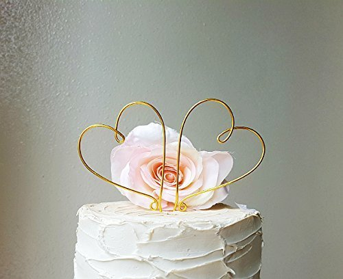 Gold Wire Heart (HEARTS Wedding Cake Topper in GOLD Wire Finish Special Events Decoration)