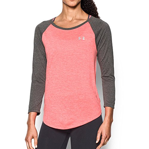 Under Armour Womens Tech 3/4 sleeve - twist, Marathon Red/Metallic Silver, Large