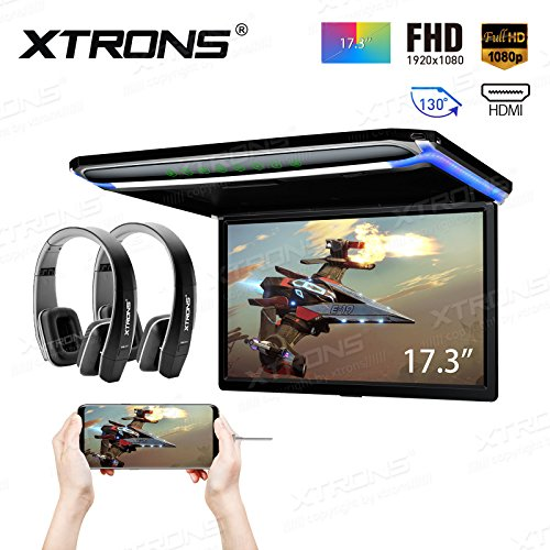 XTRONS 17.3 Inch 16:9 Ultra-Thin FHD Digital TFT Screen 1080P Video Car Overhead Player Roof Mounted Monitor HDMI Port 19201080 Full High Definition New Version Black IR Headphones