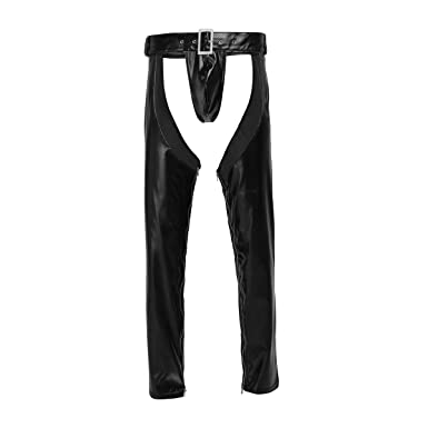 cae8f52e3884b Freebily 2Pcs Mens Lingerie Faux Leather Crotchless Zipper Tight Pants  Leggings Trousers with G-String: Amazon.co.uk: Clothing