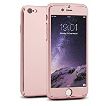 iPhone 6S Plus Case, MCUK Full Body Coverage Ultra-thin Hard Hybrid Plastic with [Slim Tempered Glass Screen Protector] Protective Case Cover & Skin for iPhone 6S Plus/6 Plus (5.5inch) (Rose Gold)