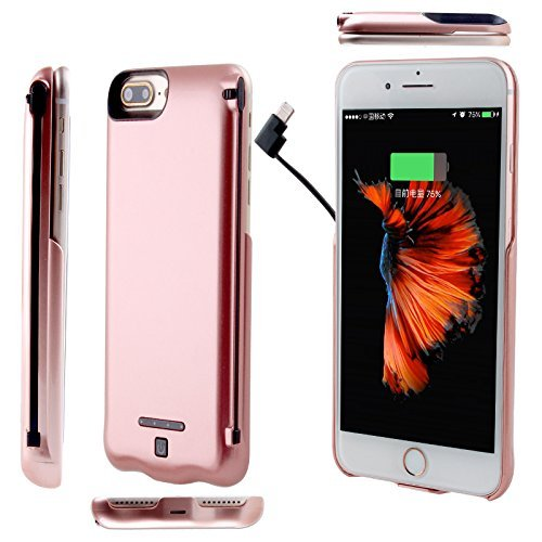 Iphone 8/7 battery case External battery case Rechargeable battery case for iPhone 8 7 6 6S (4.7 inch) with 5000mAh Capacity Can Charge Two Cellphones at The Same Time