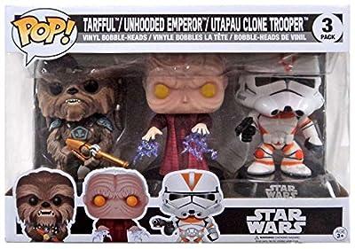 Funko Pop! Star Wars Tarfful, Unhooded Emperor, Utapau Clone Trooper Revenge of the Sith Exclusive Vinyl Figures