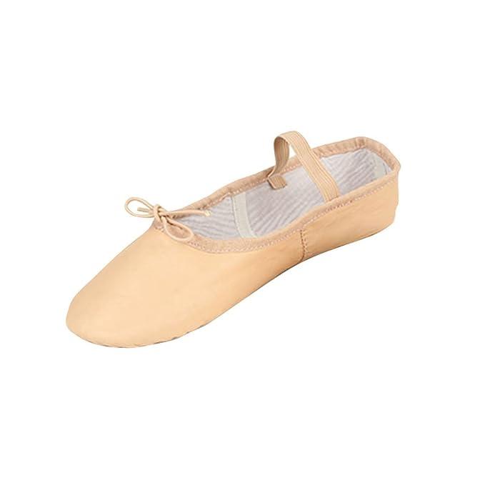 BaZhaHei Mujer Zapatillas Ballet de Cuero Rosa Zapatillas de Baile Zapatillas de Gimnasia Niños Tamaños para