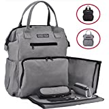 $ALE!! Rascal Gear Multipurpose Waterproof Baby Diaper Bag Backpack, Tote, Shoulder or Cross Body with Insulated Bottle Pockets, Stroller Straps, Changing Pad, Wet Bag; The Jamie Bag (Grey)