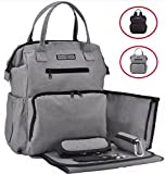 Rascal Gear Multipurpose Waterproof Baby Diaper Bag Backpack, Tote, Shoulder Or Cross Body with Insulated Bottle Pockets, Stroller Straps, Changing Pad, Wet Bag; The Jamie Bag (Grey)