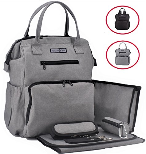 Sale!! Rascal Gear Multipurpose Waterproof Baby Diaper Bag Backpack, Tote, Shoulder Or Cross Body with Insulated Bottle Pockets, Stroller Straps, Changing Pad, Wet Bag; The Jamie Bag (Grey) from Rascal Gear