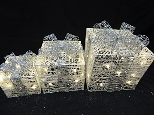 UK-Gardens Large Glitter White And Silver Light Up Christmas Parcels ...