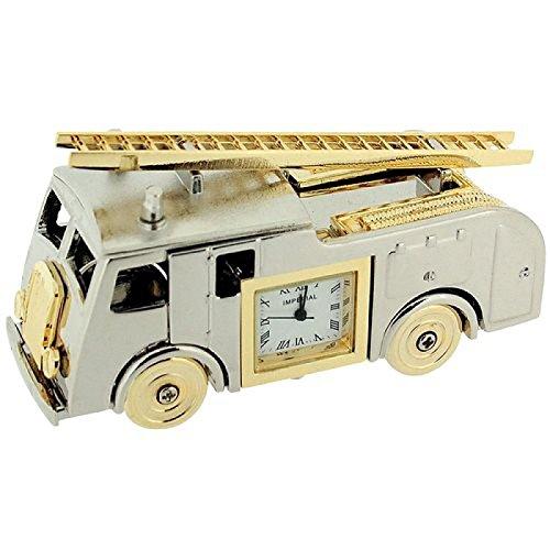 (GTP Miniature Novelty Collectors Two Tone Metal Fire Engine Desktop Clock IMP1064AL)