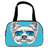 """iPrint Vogue Small Handbag Pink,Yorkie,Yorkshire Terrier Portrait with Cool Mirror Sunglasses Hand Drawn Cute Animal Art,Blue White,for Girls,Diversified Design.6.3""""x9.4""""x1.6"""""""