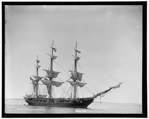 HistoricalFindings Photo: USS Constellation,frigate,American warships,Detroit Publishing Company,1890 1