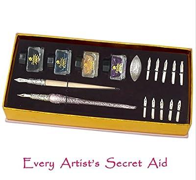 Daveliou Calligraphy Pen Set - 17-Piece Kit - PINK Glass Pen - 10 Nib & 4 Ink Set