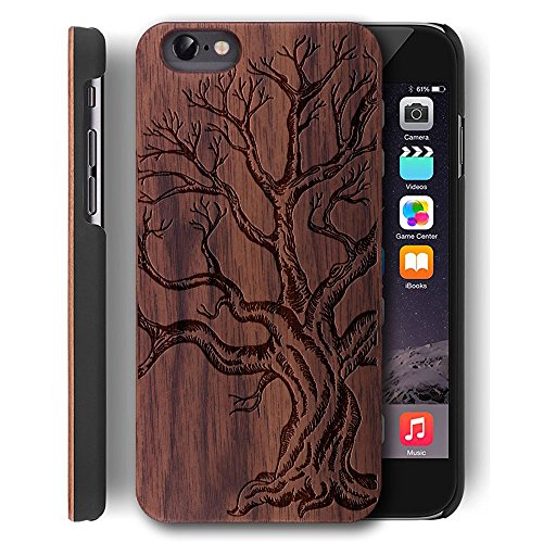 YUANQIAN iPhone 6s Plus Case Wood Real Wood & PC Case for Apple iPhone 6 Plus/iPhone 6s Plus [5.5 inch] - Slim Wooden Case with Lens Protection (Walnut Dead Tree) (Plus Case Iphone6 Wood)