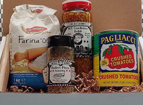 Gourmet Chicago Pizza Kit Gift & Recipe ready to gift w/ Giardiniera| Pizza seasoning | California Tomatoes| 00 Flour| Chicago Pizza Recipes
