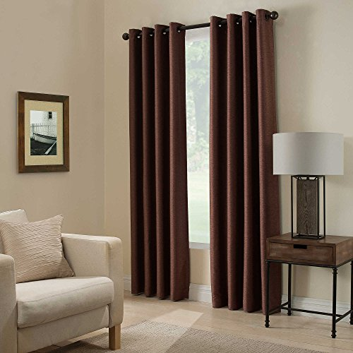 Gorgeous Home (#32) 1 PANEL SOLID PLAIN THERMAL FOAM LINED BLACKOUT HEAVY THICK WINDOW CURTAIN DRAPES SILVER GROMMETS (BROWN COFFEE, 84