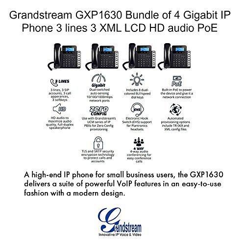Grandstream GXP1630 Bundle of 4 Gigabit IP Phone 3 lines 3 XML LCD HD audio PoE (Xml Lcd)