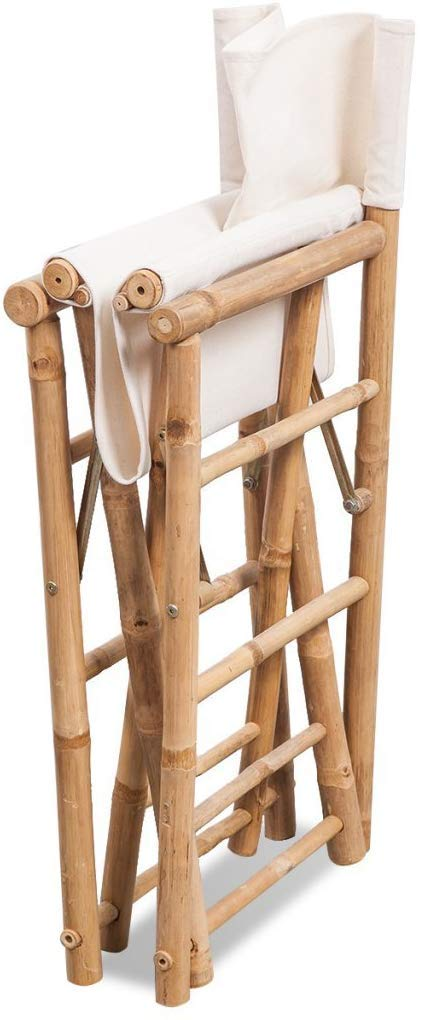 Tall Bamboo Director Chair for bar counter, White Canvas, Set of 2 by Master Garden Products
