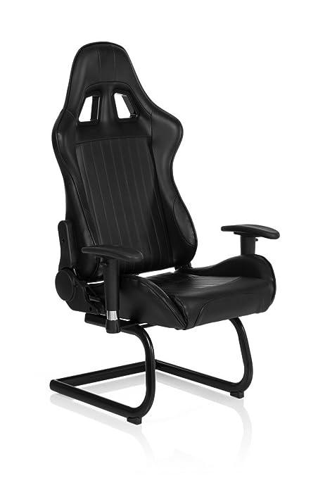 HJH Office - 729040 silla gaming SAO PAULO V piel sintética negro, buen acolchado,