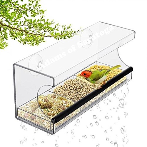 Adams of Saratoga - Window Bird Feeder - Strong Suction Cups, Seed Tray, Outdoor Bird Feeders for Wild Birds, Finch, Cardinal, Bluebird, Large Outside Birdhouse, Drain Holes