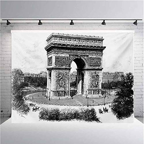 Vintage Photography Background Cloth Old Photo of Auguste Vitu Monument in Paris French Heritage Retro Picture for Photography,Video and Televison 10ftx8ft Black and White