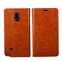 Galaxy Note 4 Case, Jaorty Galaxy Note 4 Cover Genuine Leather Premium Leather Protection Case Folio Flip Wallet Case Book Design with Kickstand Feature /Three Card Holder/Card Slots/Hidden Money Pouch for Samsung Galaxy Note 4 Case Cover, Light Brown
