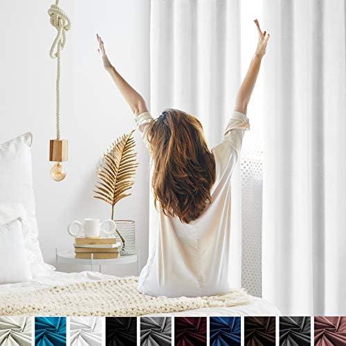 Topthumbs White Velvet Curtains